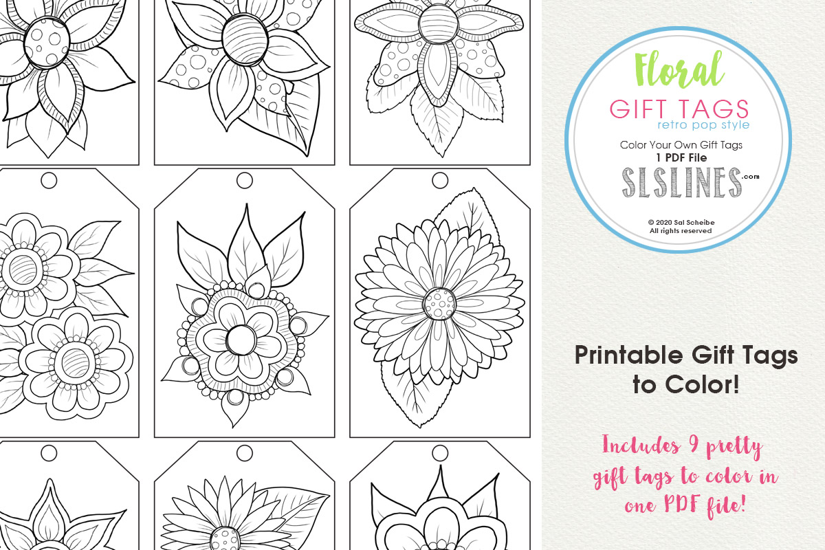 Download Free Printable Flower Gift Tags To Color Graphic By Sls Lines for Cricut Explore, Silhouette and other cutting machines.