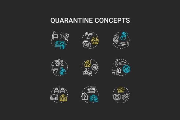 Download Free Quarantine Chalk Rgb Color Concept Icons Graphic By Bsd Studio Creative Fabrica for Cricut Explore, Silhouette and other cutting machines.
