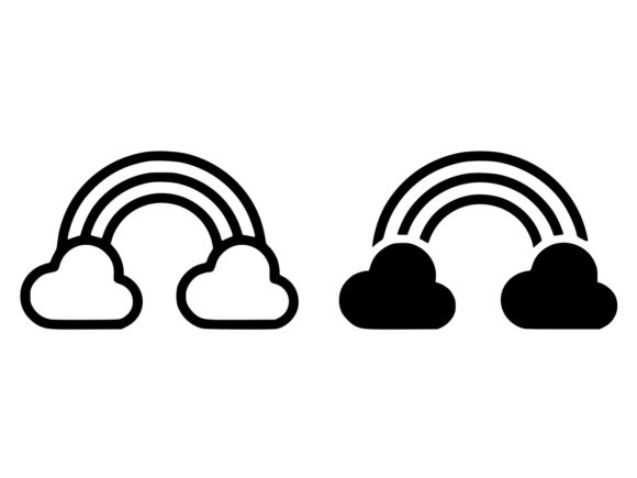 Download Free Rainbow Line And Glyph Icon Graphic By Anrasoft Creative Fabrica for Cricut Explore, Silhouette and other cutting machines.
