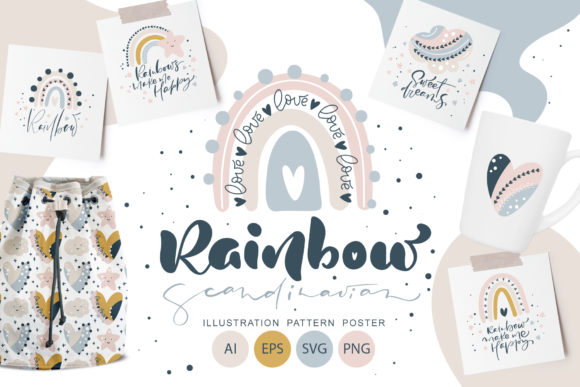 Rainbow Scandinavian   Graphic Objects By Happy Letters