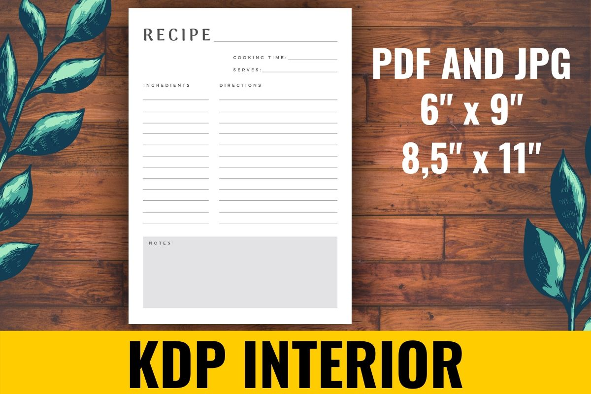 Download Free Recipe Kdp Interior Graphic By Atlasart Creative Fabrica for Cricut Explore, Silhouette and other cutting machines.