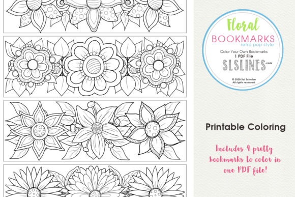 Download Free Retro Pop Flower Bookmarks To Color Graphic By Sls Lines for Cricut Explore, Silhouette and other cutting machines.