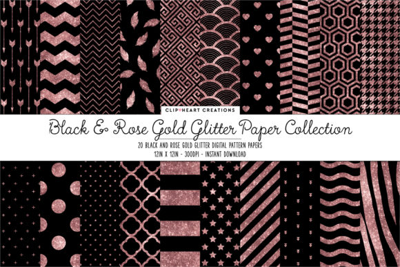 Rose Gold Glitter Digital Papers Graphic Backgrounds By clipheartcreations