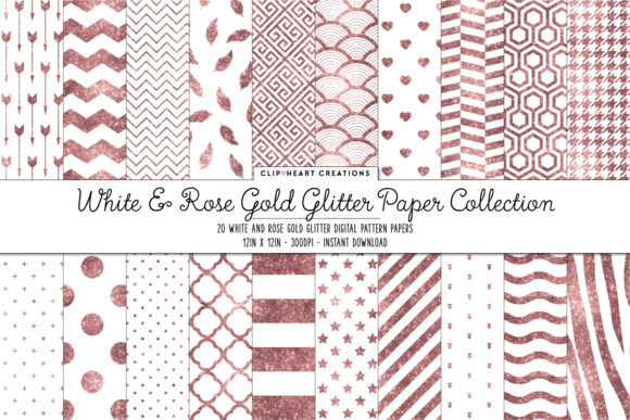 Rose Gold & White Glitter Papers Graphic Backgrounds By clipheartcreations