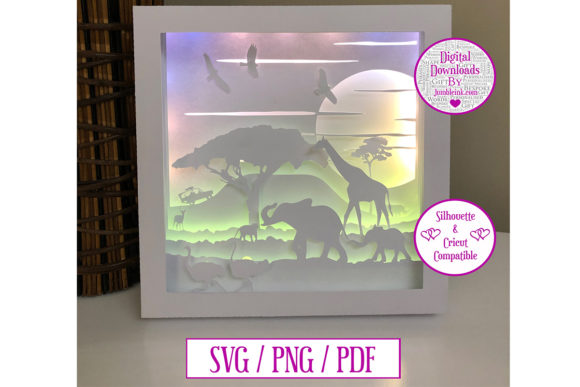 Safari 3D Paper Cut Light Box Graphic 3D Shadow Box By Jumbleink Digital Downloads