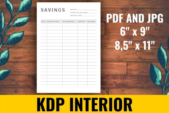 Print on Demand: Savings Tracker KDP Interior Graphic KDP Interiors By atlasart