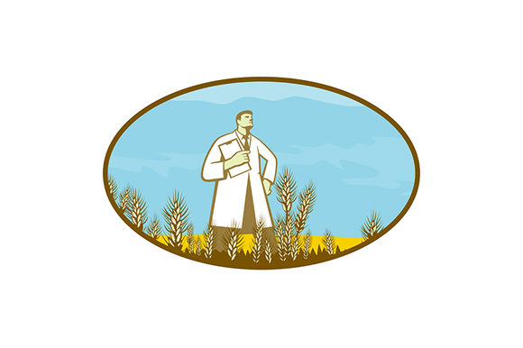 Print on Demand: Scientist Standing in Middle of Wheat Graphic Illustrations By patrimonio