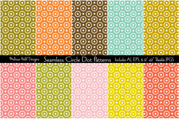 Seamless Circle Dot Patterns Gráfico Moldes Por Melissa Held Designs