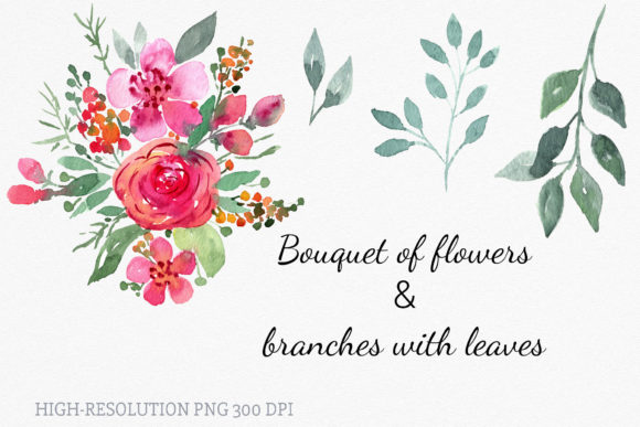Download Free Set Of Loose Watercolor Flower Cliparts Graphic By Reddotshouse for Cricut Explore, Silhouette and other cutting machines.