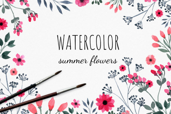 Download Free 1 A Set Of Watercolor Wild Flowers Designs Graphics for Cricut Explore, Silhouette and other cutting machines.