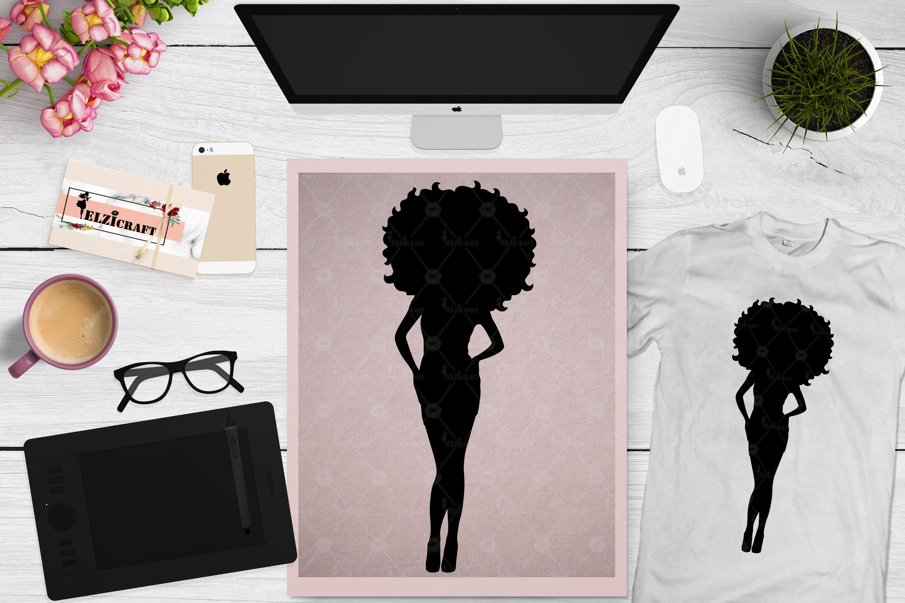 Download Free Sexy Afro Woman Silhouette Graphic By Elzicraft Creative Fabrica for Cricut Explore, Silhouette and other cutting machines.
