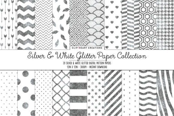Download Free Silver Glitter Papers Graphic By Clipheartcreations Creative for Cricut Explore, Silhouette and other cutting machines.