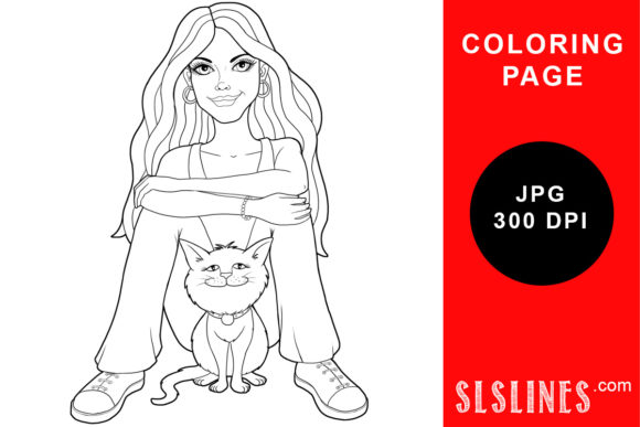 Download Free Vintage Style Lady Coloring Page Graphic By Sls Lines Creative Fabrica for Cricut Explore, Silhouette and other cutting machines.