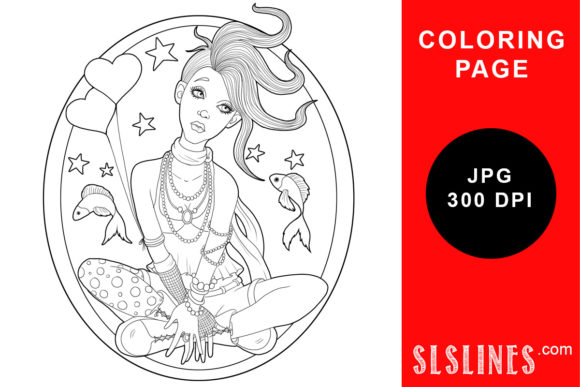 Download Free Sitting Goth Girl With Fish Coloring Graphic By Sls Lines for Cricut Explore, Silhouette and other cutting machines.