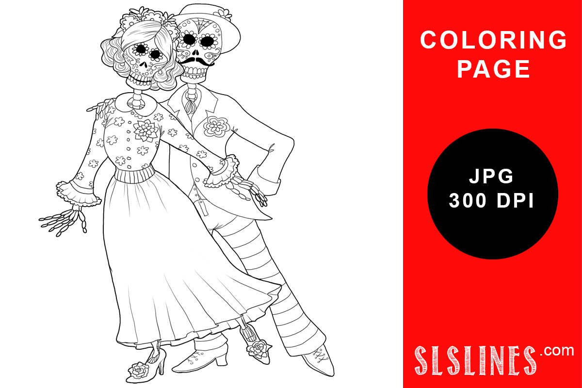 Download Free Skeleton Dancers Coloring Page Graphic By Sls Lines Creative for Cricut Explore, Silhouette and other cutting machines.
