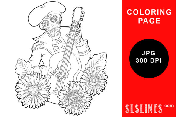 Print on Demand: Skeleton Guitar Player Coloring Page Graphic Coloring Pages & Books Adults By SLS Lines