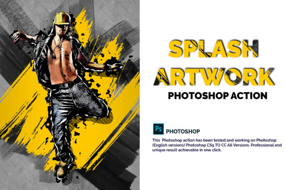Download Free Splash Artwork Photoshop Action Graphic By Jubair Haider for Cricut Explore, Silhouette and other cutting machines.