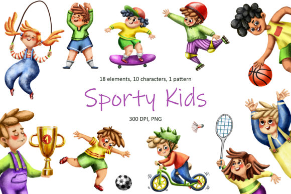 Sporty Kids - Clip Art Set Graphic Illustrations By mashamashastu