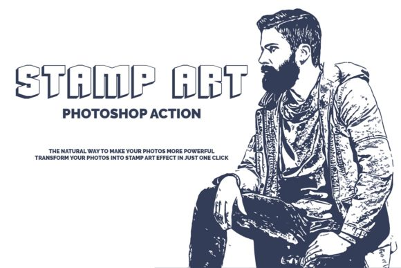Download Free Stamp Art Photoshop Action Graphic By Jubair Haider Creative for Cricut Explore, Silhouette and other cutting machines.