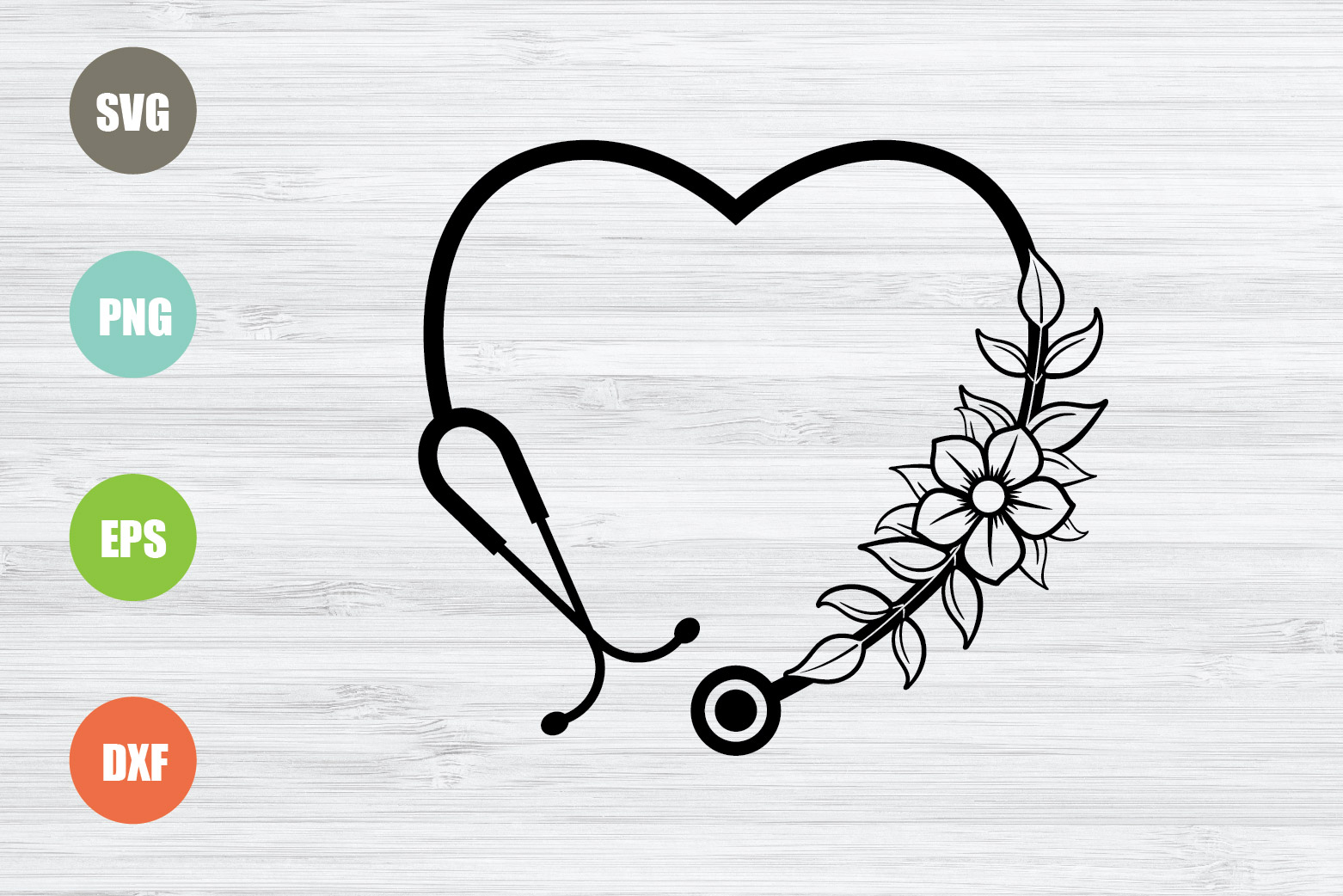 Download Free Stethoscope Floral Stethoscope Graphic By Logotrain034 for Cricut Explore, Silhouette and other cutting machines.