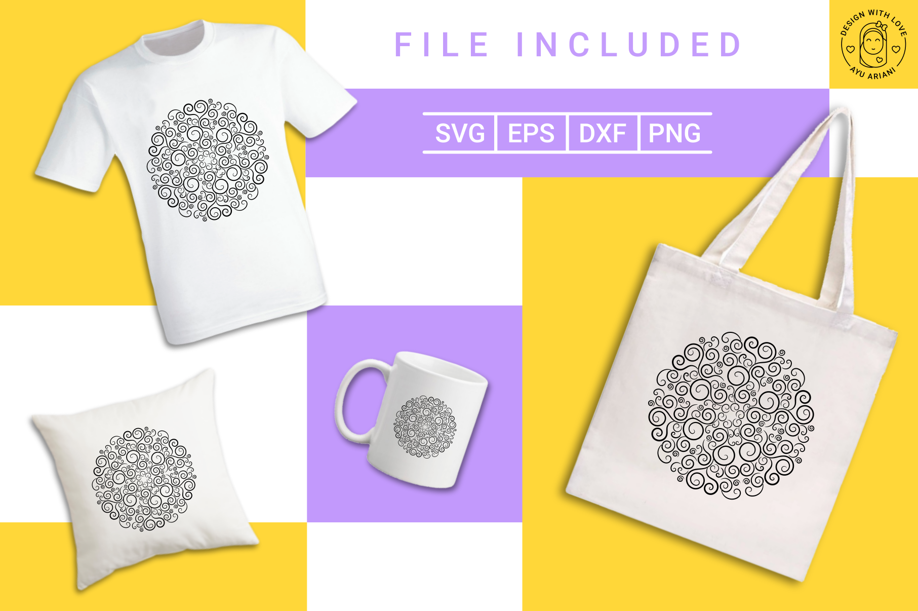 Download Free Swirl Mandala Graphic By Ayuariani Creative Fabrica for Cricut Explore, Silhouette and other cutting machines.
