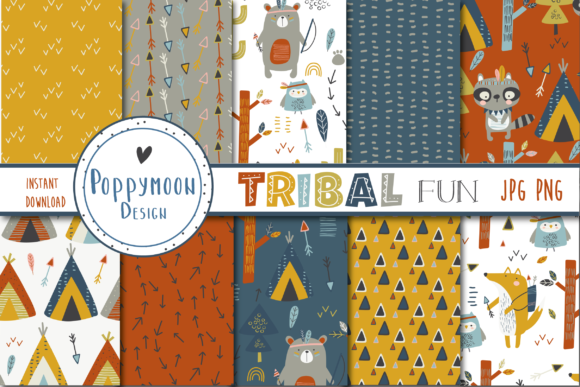 Download Free Tribal Fun Paper Graphic By Poppymoondesign Creative Fabrica for Cricut Explore, Silhouette and other cutting machines.