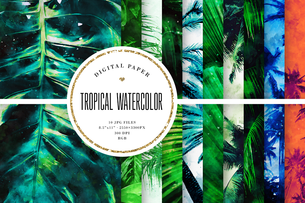 Download Free Tropical Watercolor Scrapbook Paper Graphic By Sabina Leja for Cricut Explore, Silhouette and other cutting machines.