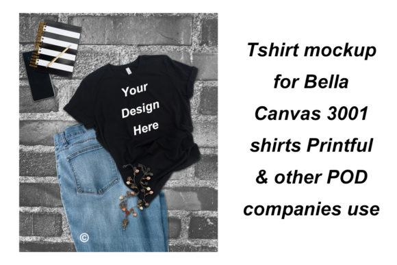 Print on Demand: Tshirt Mockup Bella Canvas 3001 Shirts Graphic Product Mockups By A Design in Time