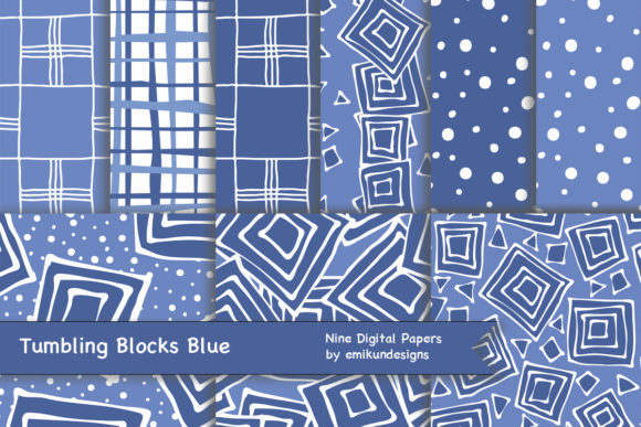 Download Free Tumbling Blocks Blue Graphic By Emikundesigns Creative Fabrica for Cricut Explore, Silhouette and other cutting machines.
