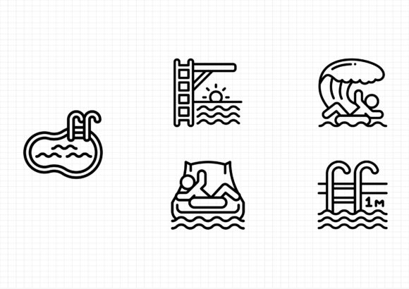 Water Park Graphic Icons By beryladamayu
