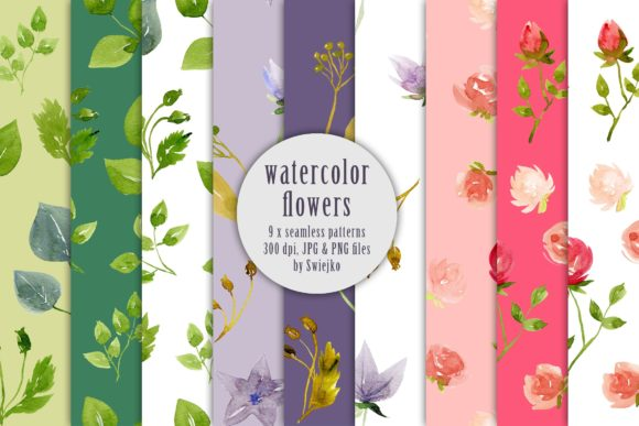 Print on Demand: Watercolor Floral Pattern, Clematis Graphic Patterns By swiejko