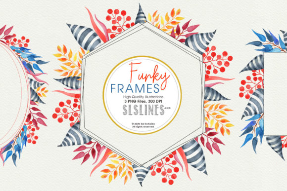 Watercolor Funky Geometric Frames Graphic Illustrations By SLS Lines