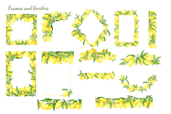 Download Free Watercolor Lemon Clipart Lemon Frame Graphic By S Yanyeva Creative Fabrica for Cricut Explore, Silhouette and other cutting machines.