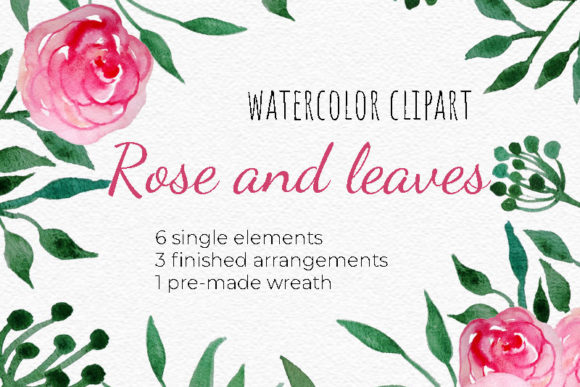 Watercolor Roses and Leaves Clipart Set. Graphic Illustrations By RedDotsHouse