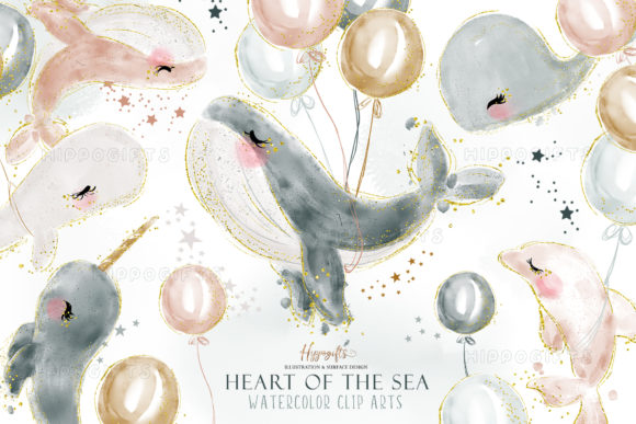 Watercolor Whale Cliparts Graphic