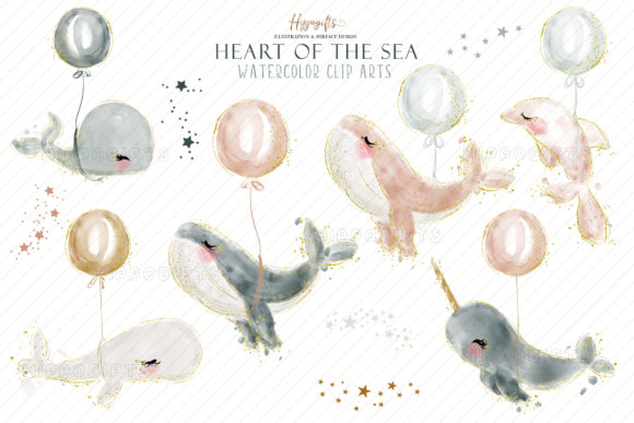 Watercolor Whale Cliparts Graphic Item