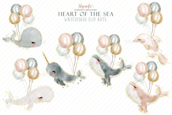 Watercolor Whale Cliparts Graphic Image
