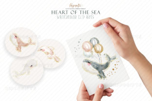 Watercolor Whale Cliparts Graphic Illustrations By Hippogifts 8