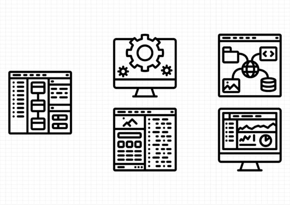 Download Free Web Development Outline Graphic By Beryladamayu Creative Fabrica for Cricut Explore, Silhouette and other cutting machines.