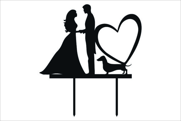 Download Free Wedding Cake Topper Cut Files Graphic Graphic By Fast Store for Cricut Explore, Silhouette and other cutting machines.