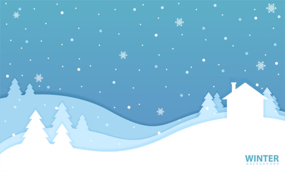 Print on Demand: Winter Landscape Background in Paper Cut Graphic Backgrounds By be young