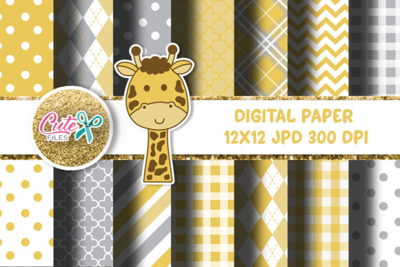 Yellow and Gray Digital Paper, Giraffe Graphic Textures By Cute files