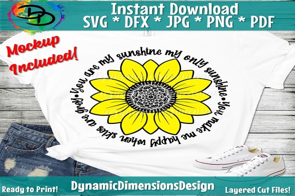 You Are My Sunshine Sunflower SVG, PNG, EPS & DXF by Free SVG File