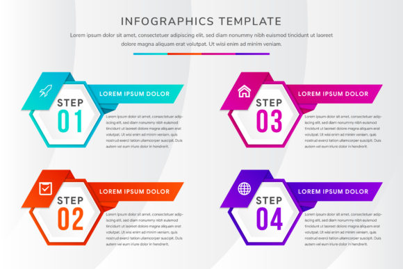 Print on Demand: Gradient Color Hexagon Horizontal Graphic Infographics By noory.shopper