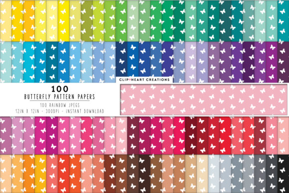 100 Butterfly Pattern Papers Graphic Backgrounds By clipheartcreations