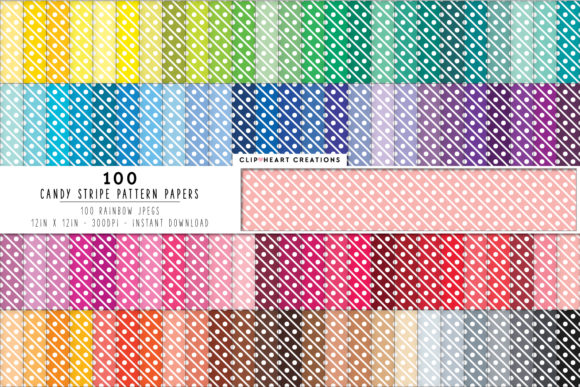100 Candy Stripe Pattern Papers Graphic Backgrounds By clipheartcreations