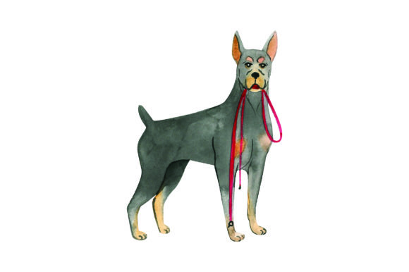Doberman with Leash in Mouth Dogs Craft Cut File By Creative Fabrica Crafts