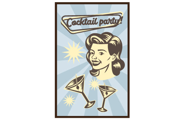 Download Free Vintage Cocktail Party Poster Svg Cut File By Creative Fabrica SVG Cut Files