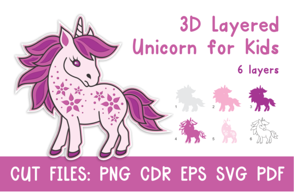 Download Free 3d Layered Unicorn For Kids Cut Files Graphic By Olga Belova for Cricut Explore, Silhouette and other cutting machines.