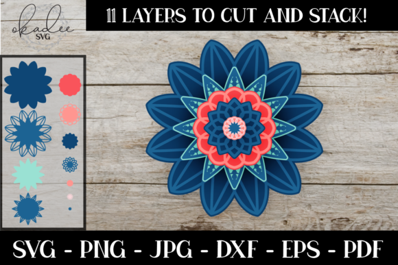 3D Mandala, Layered Flower Graphic 3D SVG By okadee.svg